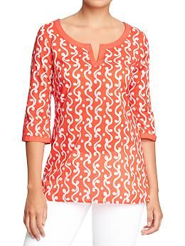 Womens Printed Tunics - Red Print - ON $26.94