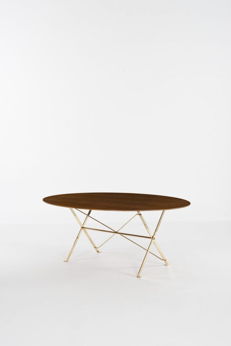 Luigi Caccia Dominioni; Brass and Wood Table for Azucena, 1947.