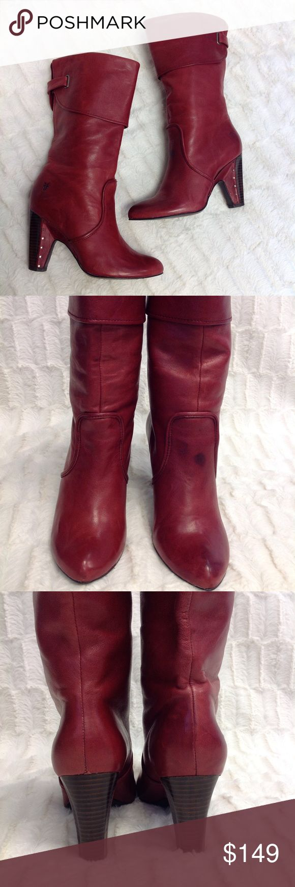 """FRYE Boots Pu87 ❤️❤️❤️These red leather boots by Frye are so smooth! They are a distressed brick red leather with a faux fold-over. It measures to come up about 10"""" on the calf. The stacked heel is lined with the same red leather and silver flush studs! ***Gently pre-loved. Inspect image #2 for noticeable spot. Very minimal wear on heel and soles! Frye Shoes Heeled Boots"""