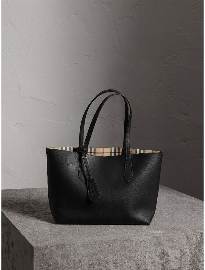 07af97ff45d0 Burberry The Small Reversible Tote in Haymarket Check and Leather  handbags   burberry