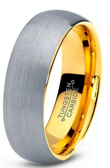 This is one gorgeous well crafted 18K yellow gold wedding band. This tungsten band has been crafted with 18K gold inside and we decided to go with a brushed tun