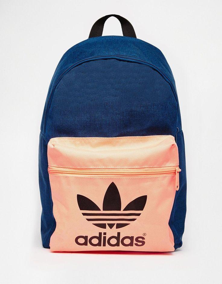Imagen 1 de Mochila azul marino con bolsillo delantero en contraste de adidas Originals