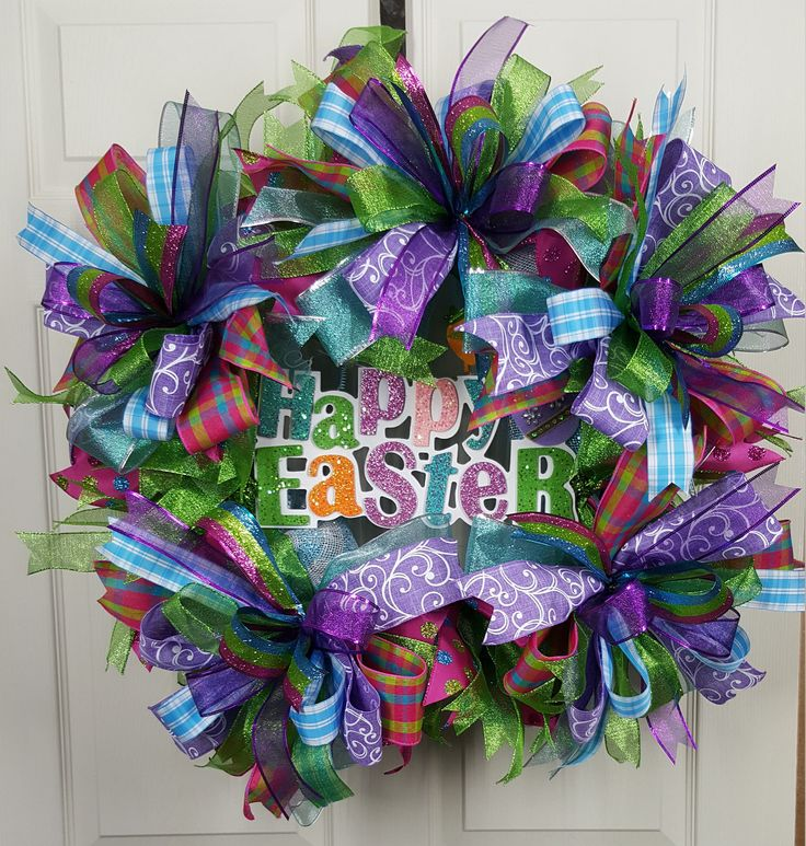 Excited to share the latest addition to my #etsy shop: front door happy easter deco mesh wreath http://etsy.me/2F1U56J