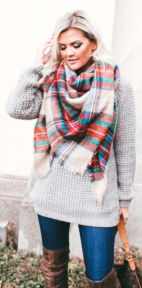 1d217662b26a5 #winter #fashion / Printed Scarf / Grey Knit / Navy Skinny Jeans / Brown  OTK Boots