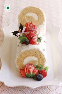 【ハニーホワイト ブッシュ・ド・ノエル】Honey White  Bush de Noel # BushdeNoel #Honey #cake #SwissRoll #Xmas #Christmas #ChristmasCake