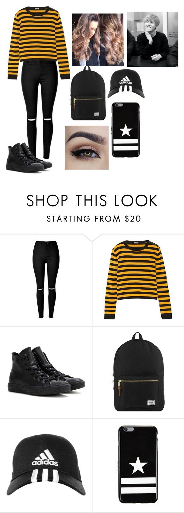 """""""Taehyung girl version"""" by bts-trash ❤ liked on Polyvore featuring Miu Miu, Converse, Herschel Supply Co., adidas and Givenchy"""