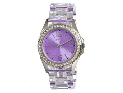 Up to the minute and dressed to impress! This sensational stainless steel watch keeps you right on time and looking your best with its crystal-clear band and candy-purple dial!