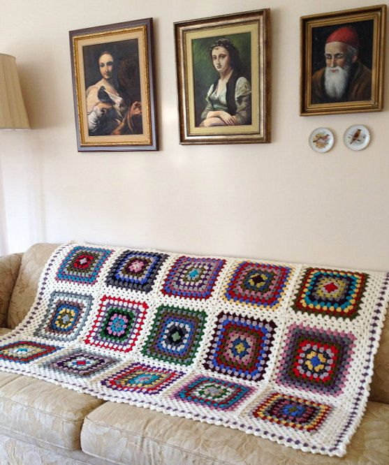 Colorful Afghan Blanket Throw Livingroom by allapples on Etsy, $235.00