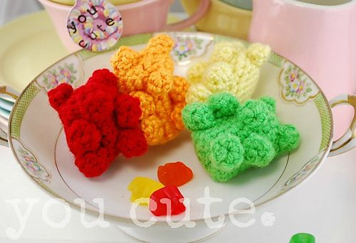 """Free pattern for """"Gummy Bears"""" by You Cute...would be cute Tub Toys!"""