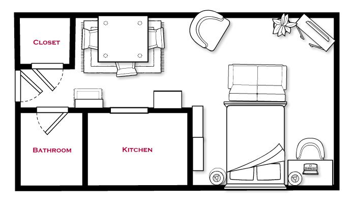 Studio life arranging furniture how to arrange an l - Studio apartment furniture layout ...