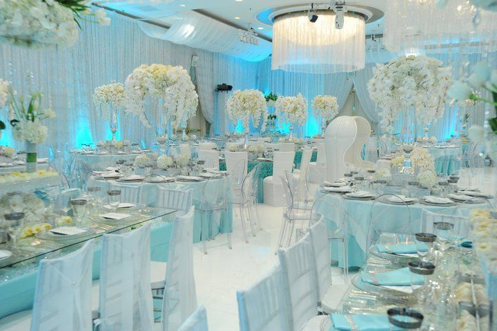 Glamorous icy blue reception receptions wedding and for Baby blue wedding decoration ideas