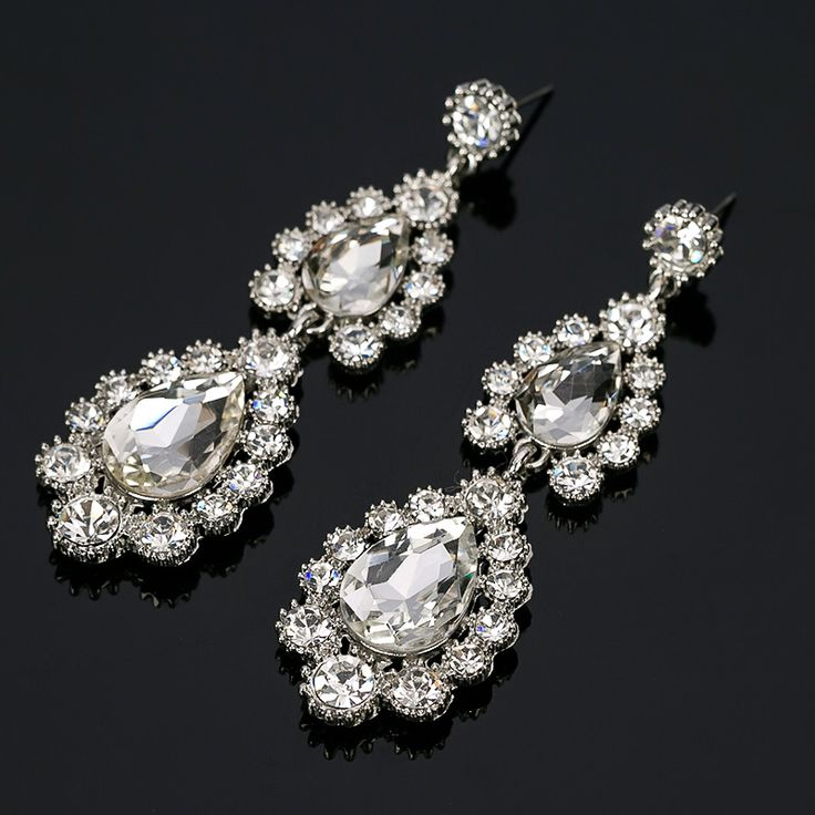 Big long Blue crystal drop earrings for women vintage flower silver plated bride Earrings wedding Jewelry accessories#E160