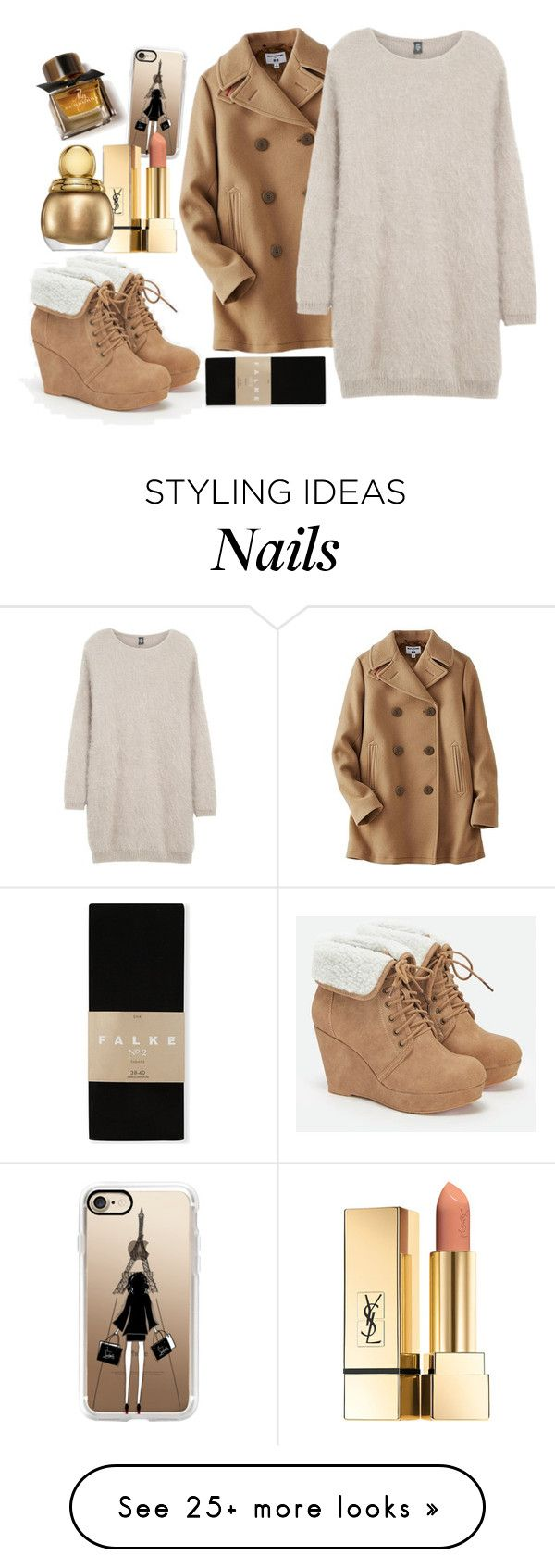 """""""Cozy brown 2"""" by meta009 on Polyvore featuring Casetify, Uniqlo, Eleventy, JustFab, Falke, Christian Dior and Burberry"""