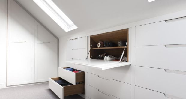 Eliminating leftover areas: use low space under the eaves for storage and try to ensure that it is as accessible as possible, perhaps by building drawers rather than cupboards