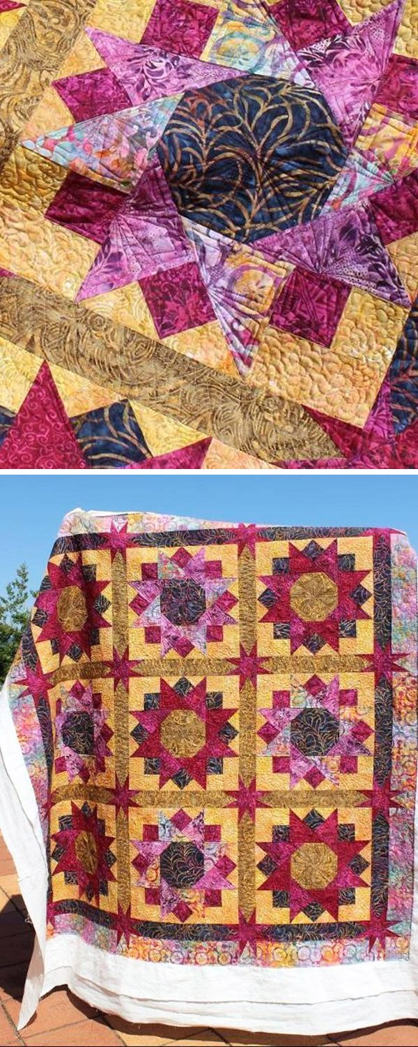 This batik quilt reminds us of summer sunflowers!