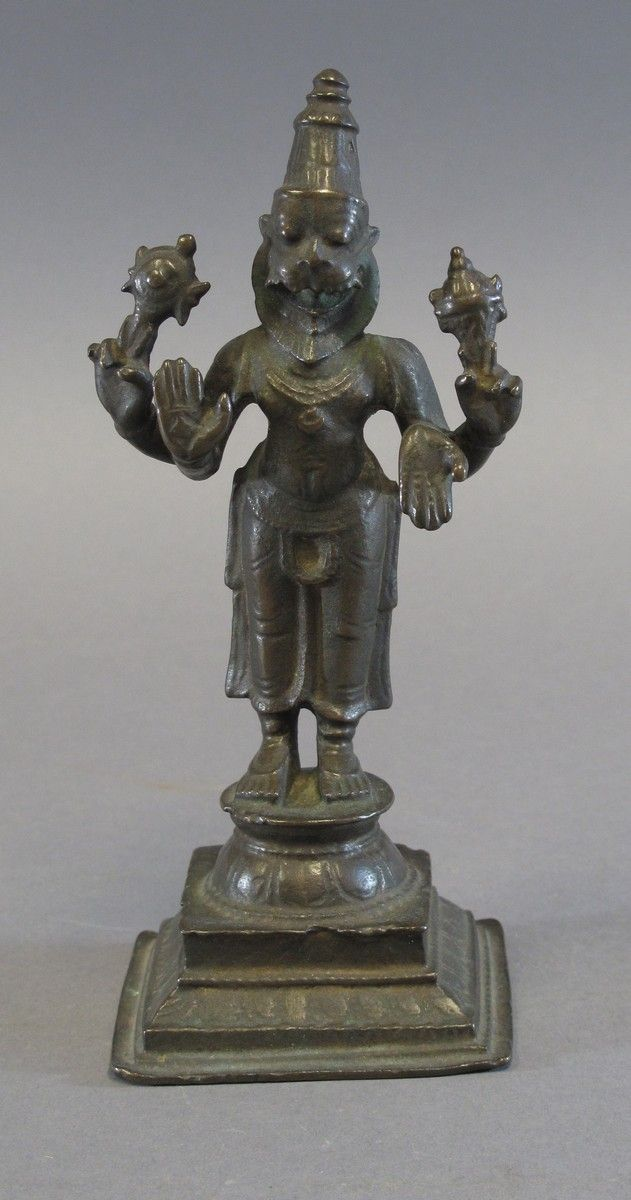 A RARE STANDING BRONZE FIGURE OF NARASIMHA Tamil Nadu, South India, 15th/16th century the lion