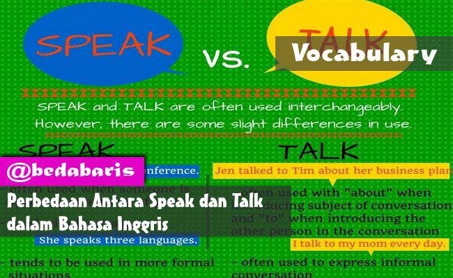 Perbedaan Antara Speak dan Talk dalam Bahasa Inggris  http://www.belajardasarbahasainggris.com/2018/03/14/perbedaan-antara-speak-dan-talk-dalam-bahasa-inggris/