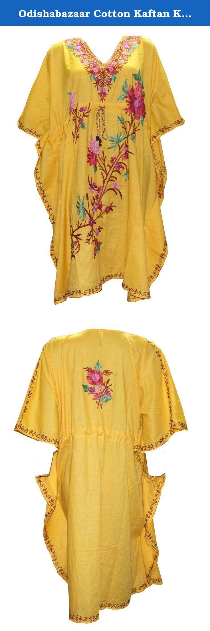 Odishabazaar Cotton Kaftan Kashmiri Embroidered Short Length Dress for Women (multi-5). Short length Kashmiri Kaftan/lounge wear/beach wear/ Sort dress with Ari Embroidered Flowers.