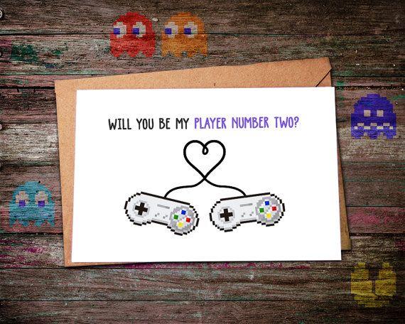 Valentine's Love, Valentine's Day Card, Video Game Valentine, Valentine Card, Valentine Gift, Player 2, Gamer Valentines Day, Geek Boyfriend