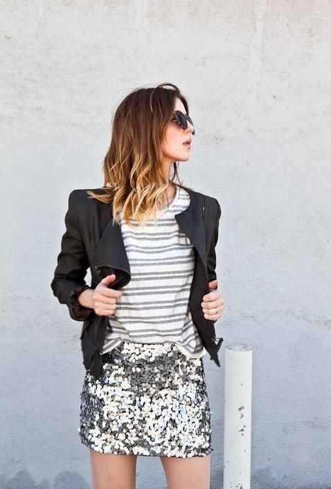 Outfit: leather jacket, striped shirt and sequin skirt. I absolutely love this look - I need it now!