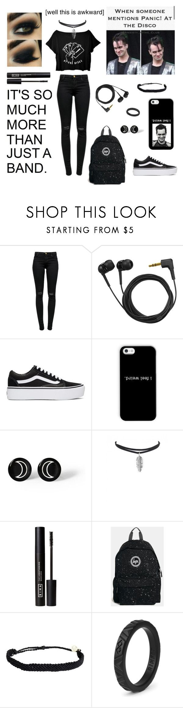 """Black friday ~ Panic! At The Disco"" by kayla-victoria-jones ❤ liked on Polyvore featuring J Brand, Sennheiser, Vans, 3ina, Hype and Pura Vida"