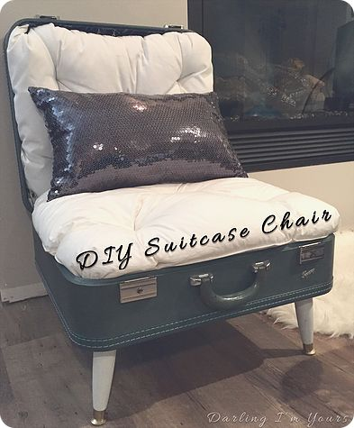 Several years ago I stumbled across aDIY Suitcase Chairpin on Pinterest and I knew I had to try it! I apologize in advance, I don't have any