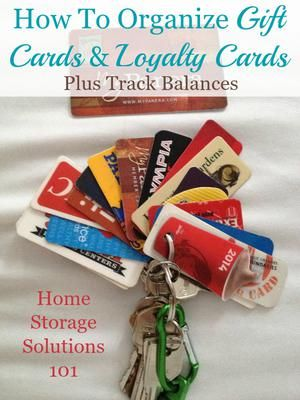 Lots of ideas and tips for how to organize gift cards and loyalty cards, plus how to track balances, including lots of pictures of what works in real life {on Home Storage Solutions 101}