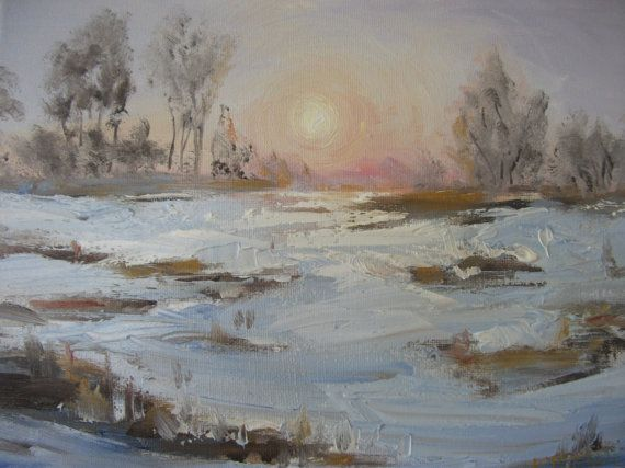 End of the Day.    landscape snow sunset by KareNZGallery on Etsy