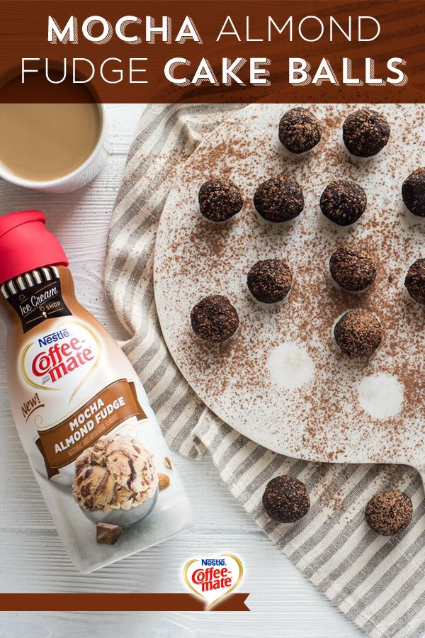 Cream cheese, chocolate cake mix, and Coffee-mate Mocha Almond Fudge creamer are all you need to make these swoon-worthy Mocha Almond Fudge Cake Balls. You can make tons of delicious recipes with your favorite Coffee-mate flavors. Get this recipe (and many more!) at coffeemate.com.