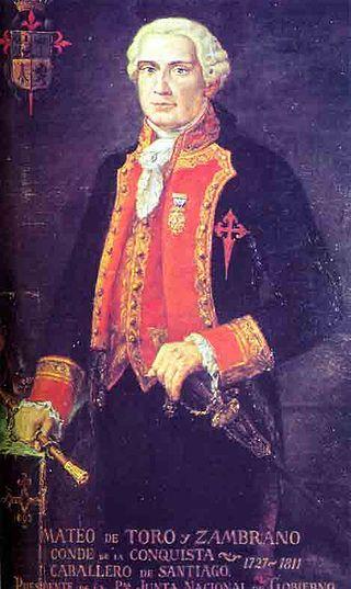 Mateo de Toro Zambrano, gobernador de Chile en 1810. Fue proclamado como primer presidente de la Junta Nacional de Gobierno.