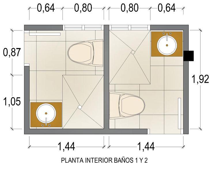 Casa G+A: Planta interior Baños 1 y 2 / G+A House:  1st. and 2nd. bathrooms interior plant