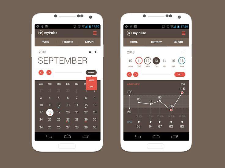 Andoid App Concept   Calendar View by Alek Manov