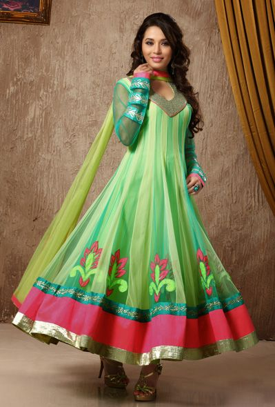 USD 130.77 Green Butta Work Long Anarkali Salwar Kameez 31353