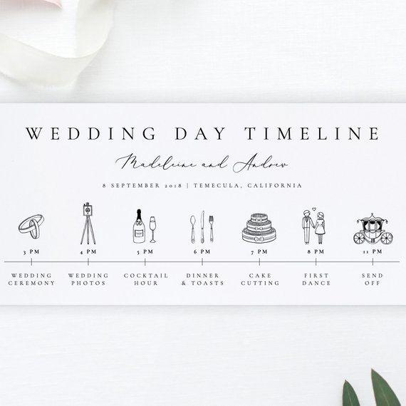 Modern Wedding Day Timeline Card Template Simple Wedding Etsy Wedding Day Timeline Wedding Itinerary Wedding Schedule