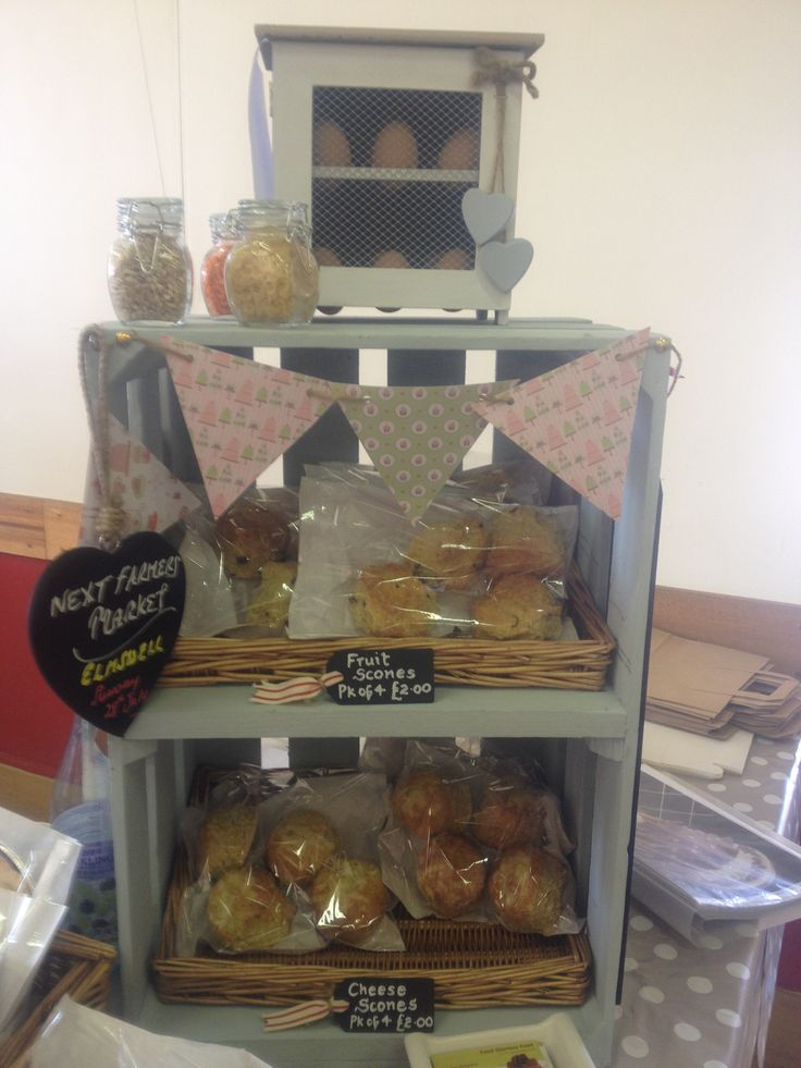 My lovely scone cupboard full of fresh sultana scones and cheese scones at the Farmers Market