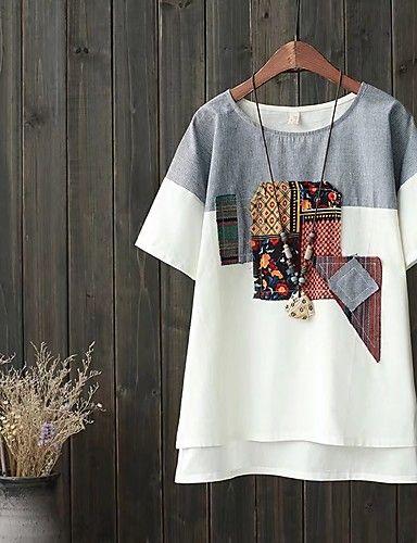 Feminino Camiseta Para Noite Casual Simples Fofo Moda de Rua Primavera Outono,Estampado Estampa Colorida Algodão Linho Decote Redondo de 6108767 2017 por R$46,00