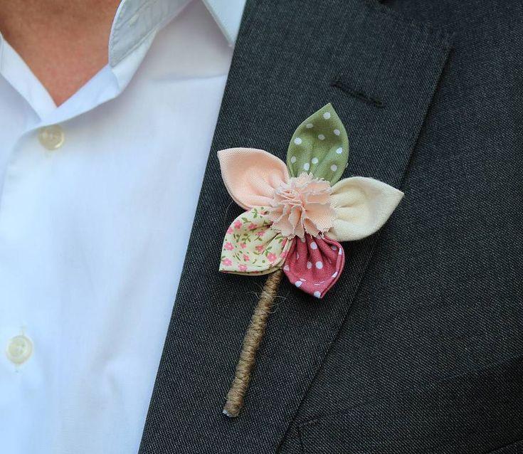 fabric flower buttonhole by 'by alex'   notonthehighstreet.com