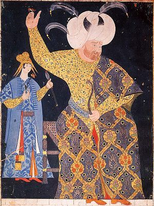 Portrait of Sultan Selim II (1512-1520) at archery pratice. The miniature dates from the 1560s and is the work of the famous painter Nigari. The sultan is wearing a kaftan with a design of tulips and small red flowers in a medallion pattern, over a robe with a floral scrollwork design. Miniature painting.  TOPKAPI PALACE MUSEUM.