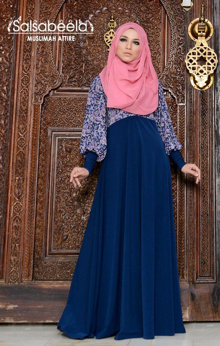 Muslimah Dark Blue Floral Dress