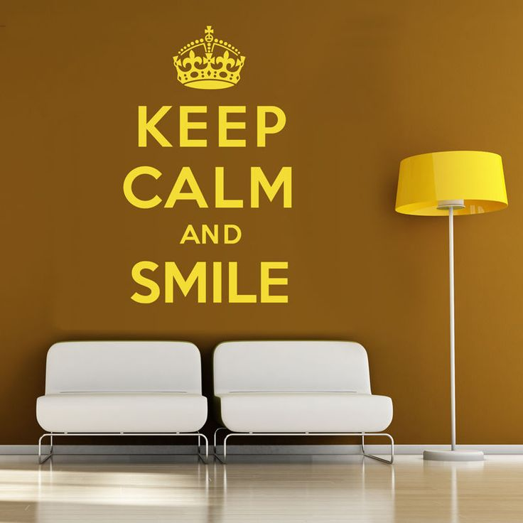 Keep Calm And Smile - Wall Sticker Art Decal Vinyl Quote