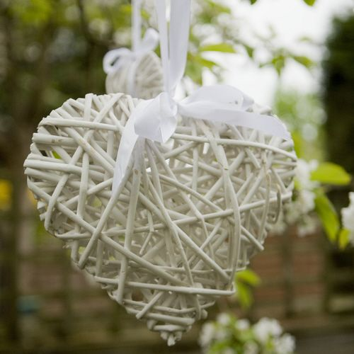 Wicker hearts with ribbons