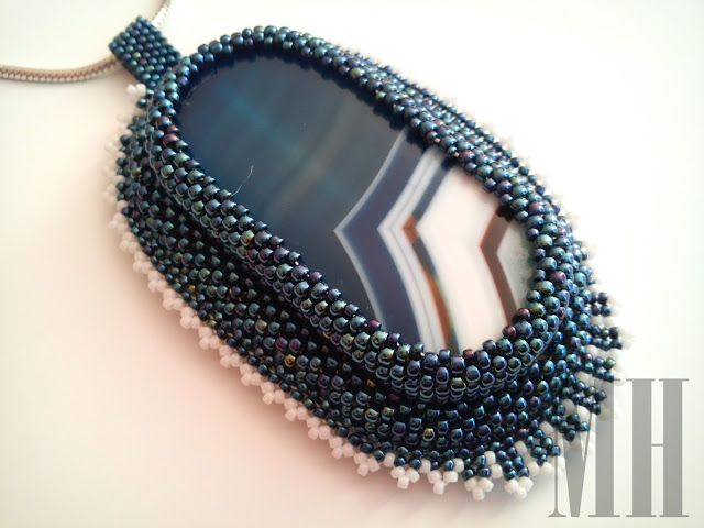 Agat niebieski w koralikach Toho   MH Biżuteria - cuda ręcznie wykonane