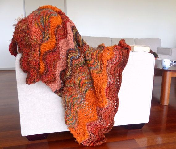 Hand knitted blanket rug Thick brown blanket by SallyAnnaBoutique