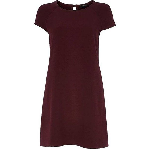 River Island Dark red short sleeve swing dress ($23) ❤ liked on Polyvore featuring dresses, sale, trapeze dress, river island, tent dress, brown cocktail dress and river island dresses