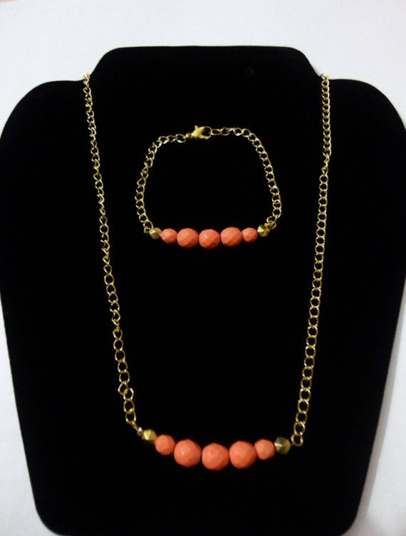 Gold plated link chain neckalace and bracelet with Orange Coral faceted gemstone beads on Etsy, $13.87