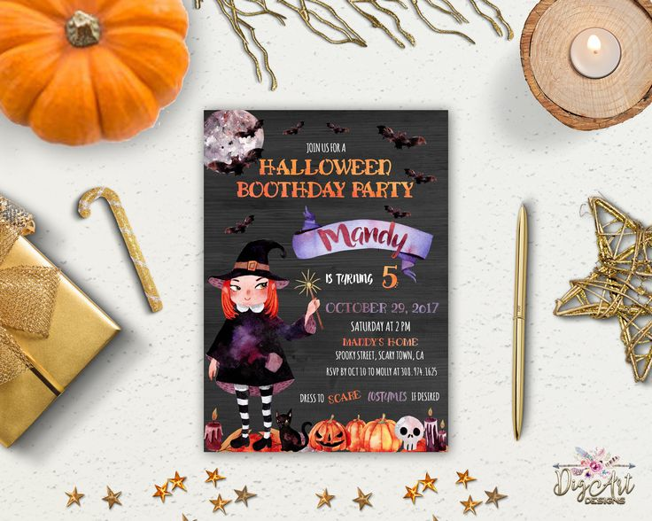 REPIN NOW for later! Kids Halloween Birthday Invitation Cute Halloween Invitation Printable Girl Birthday Party invite Halloween Costume Invite Digital / Printed by DigartDesigns on Etsy