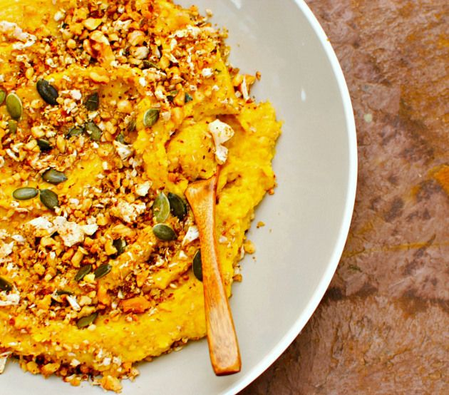 Roasted Pumpkin Hummus with Cauliflower and Walnut Crumble - subtract the walnuts and it's perfect