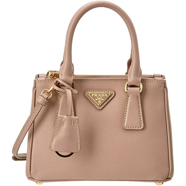 Prada Saffiano Mini Leather Double Handle Shoulder Bag (392202001) (13.935.985 IDR) ❤ liked on Polyvore featuring bags, handbags, shoulder bags, pink, pink leather purse, leather handbags, leather shoulder bag, leather shoulder handbags and tote shoulder bag