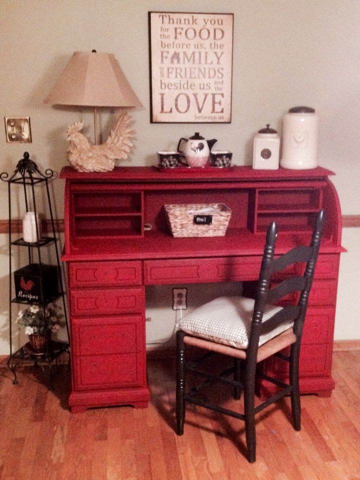Old Oak Roll Top Desk Painted With Imperial Red Folk Art