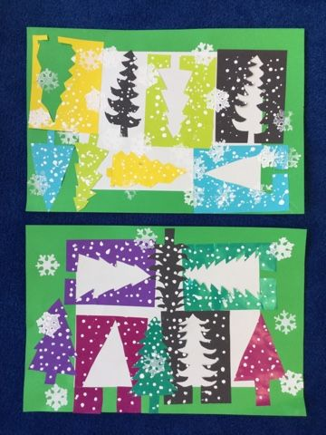 Mrs. Knight's Smartest Artists: Abstract Evergreen Collage, 2nd grade